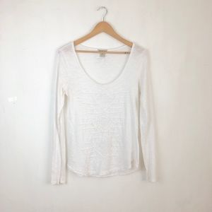 Lucky Brand white blouse size:M long sleeve boho